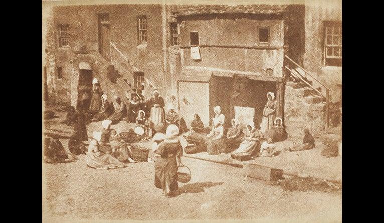 David Octavius Hill and Robert Adamson, St Andrews, North Street, Fishergate, Women and Children Baiting the Lines, ca. 1845