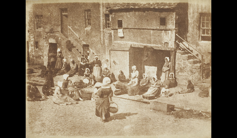 David Octavius Hill and Robert Adamson, St Andrews, North Street, Fishergate, Women and Children Baiting the Lines, ca. 1845