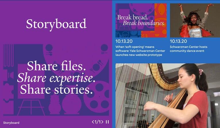 Website screenshot: Storyboard. Share files. Share expertise. Share stories.