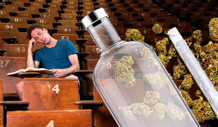 A college student dozing in a lecture hall with a vodka bottle an marijuana buds edited on top.