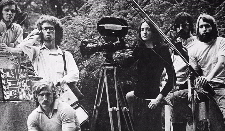 Alexis Krasilovsky '71 B.A. (center) with other Yale filmmakers