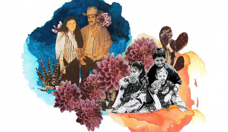 Painting of a migrant family.