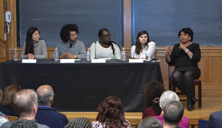 Yale undergraduates Katherine Hu, J. Joseph, Azaria King, and Rachel Williams with April Ryan during a panel discussion.