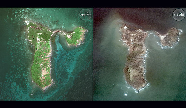 An aerial view of the island before the hurricane, all green and lush, and afterward, all brown with no green left.