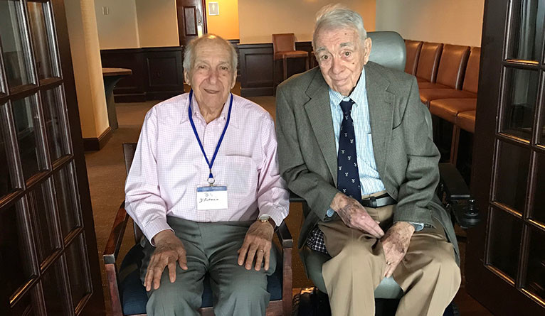 Bill D'Antonio '48 (left) and Joe St. Georges '48 reminisce about Yale during WWII at their 70th reunion.