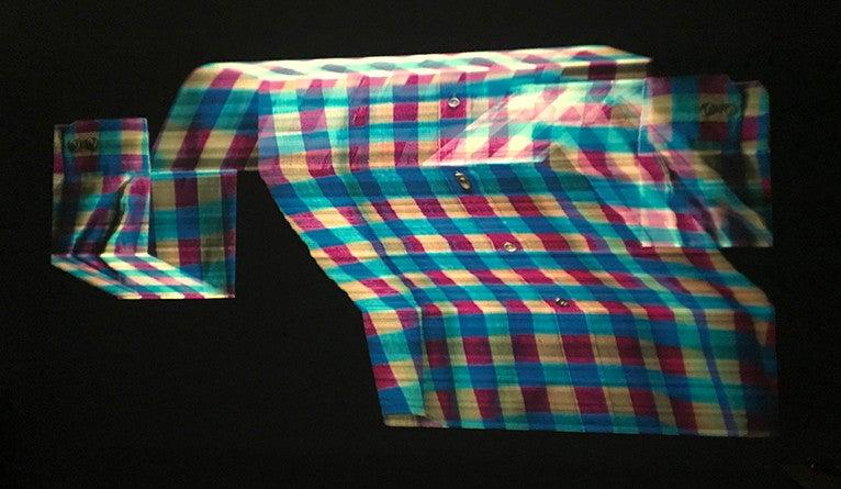 Abstract photo of a plaid shirt by Nicholas Steindorf '14 ART and Kyle Williams '15 ART (aka Blinn & Lambert)