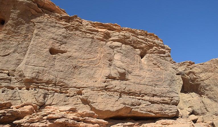 Ancient rock wall drawings of boats.