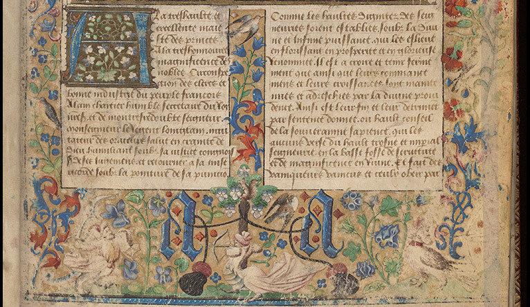 Bottom portion of a page from Clumber Park Chartier, with poetry.