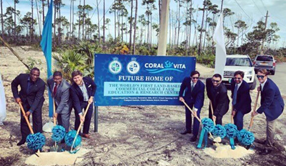 The Coral Vita team and Grand Bahama officials break ground on the world's first commercial land-based coral farm for reef resto