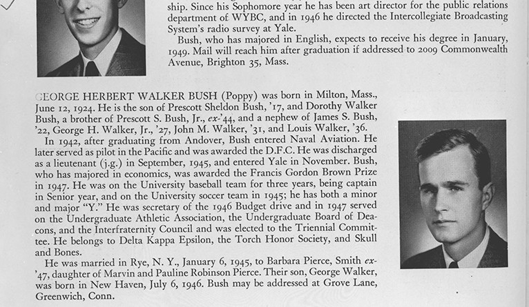 George H.W. Bush's biographical information from the 1948 Classbook, p. 230.