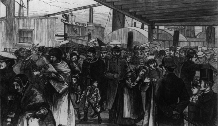 Immigrants disembark at the Castle Garden immigration processing center in New York City in this engraving by A.B. Shults.