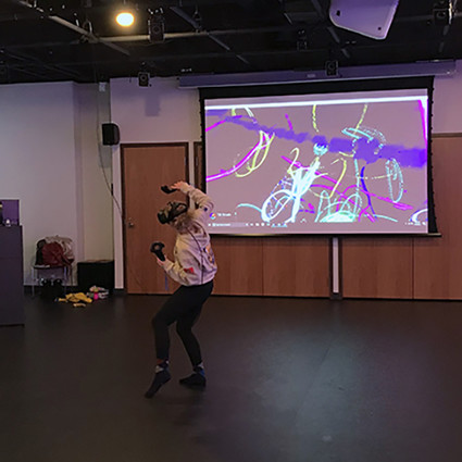 A student experiments with virtual reality in the center's state-of-the-art motion studio.