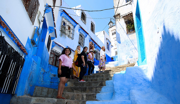 Yale undergraduates tour Chefchaouen, known as the blue city, in Northern Morocco.