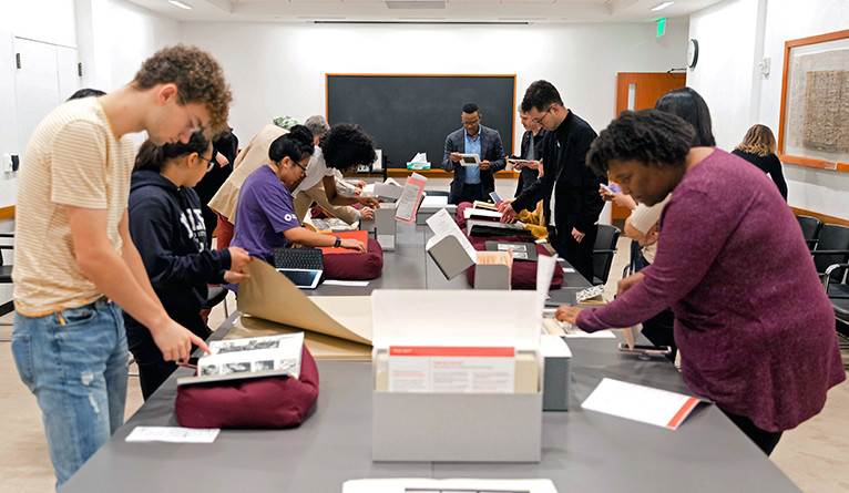 Harris helps students explore archives in the Beinecke Rare Book and Manuscript Library