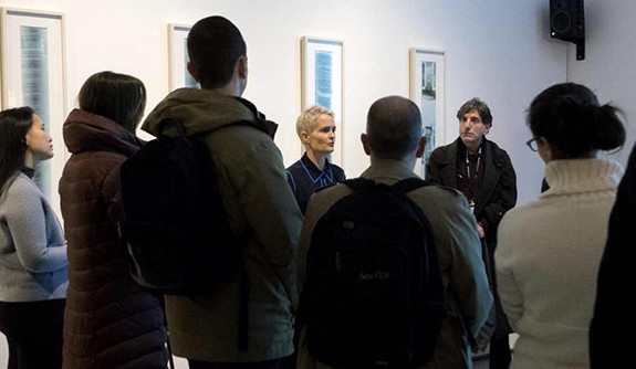 Miranda Massie '91 M.A., founder and director of the Climate Museum in New York City, leads a tour for Yale Blue Green.