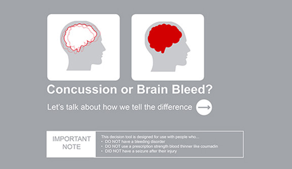 An informative poster illustrating the difference between a head contusion and brain bleed.