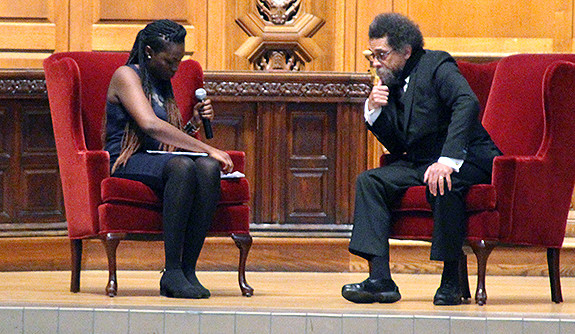 Cornel West and Dianne Lake participating in a question and answer session at Battell Chapel.