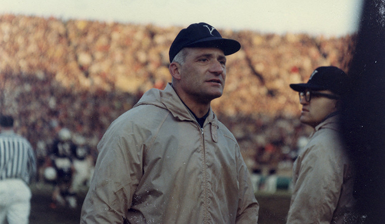 Carm Cozza at the Yale Bowl during a football game.