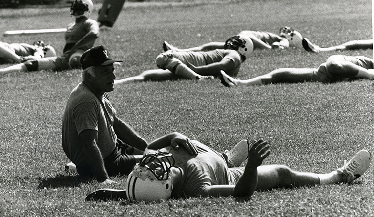 Carm Cozza during football practice.