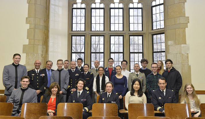 Officers of the French War College and Yale Debate Association members pose for a photo