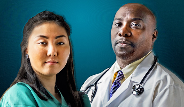 An Asian doctor and a black doctor.