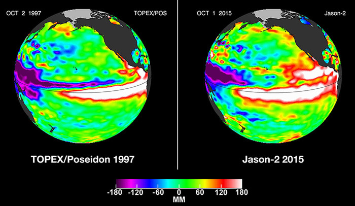 Pacific Ocean sea surface height anomalies during the 1997-98 El Nino are compared with 2015 Pacific conditions.