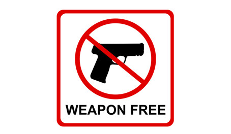 Weapon Free Zone sign.