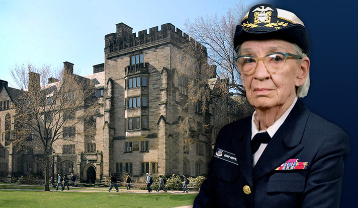 Grace Murray Hopper in Navy uniform with Hopper College in the background.