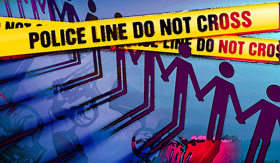 A collage combining police perimeter tape and person icons holding hands.
