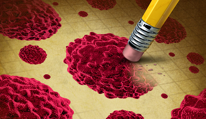 An illustration of a pencil eraser erasing a stem cell.