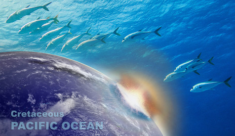 An illustrated collage of dolphins swimming and a meteor hitting Earth.