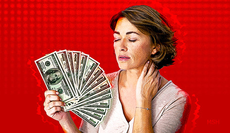 A woman suffering from a hot flash, fanning herself off with a spread-out stack of hundred dollar bills.