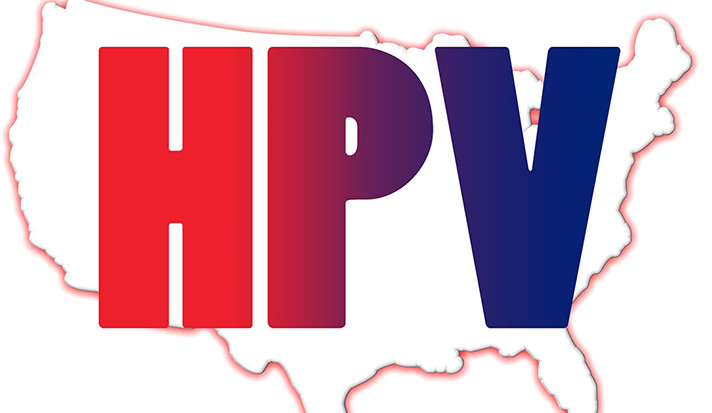 HPV imposed in large frightening letters on an outline of the continental United States.