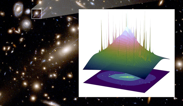 MACSJ1206. The inset shows the derived detailed spatial distribution of dark matter.