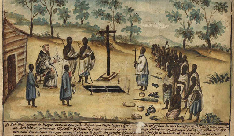 Bernardino's watercolor shows a Christian burial.
