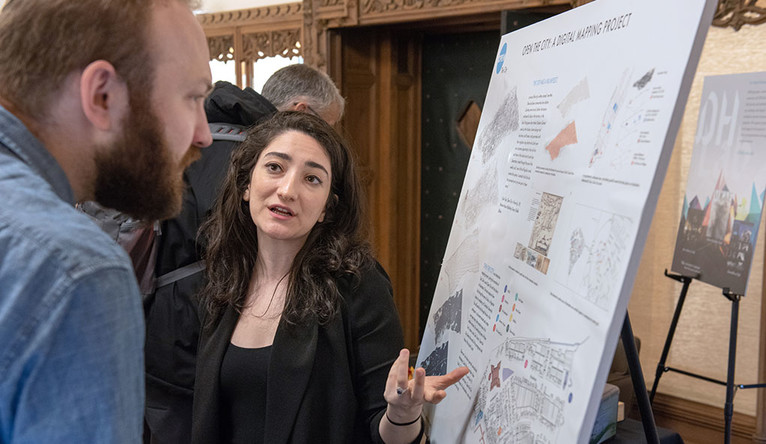 Amanda Chemeche explains a digital mapping project at thte Beyond Boundaries symposium at Yale