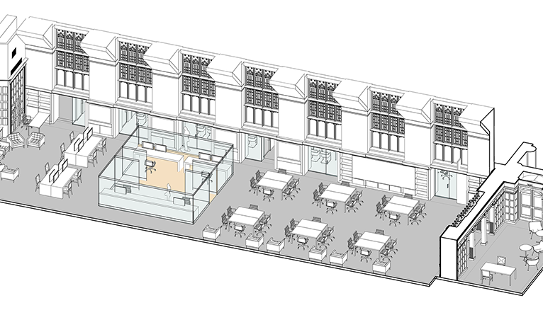 An overhead rendering of the Franke Family Digital Humanities Laboratory in Sterling Memorial Library.