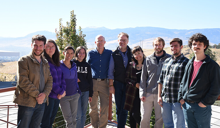 Manning and students at the Desert Research Institute in Nevada.