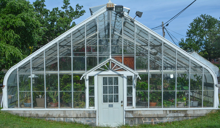 One of the garden's six greenhouses
