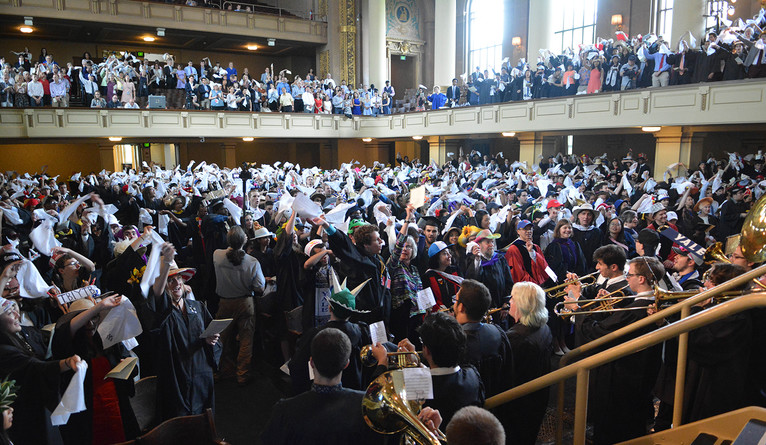 Students singing Bright College Years at Yale Commencement 2018.