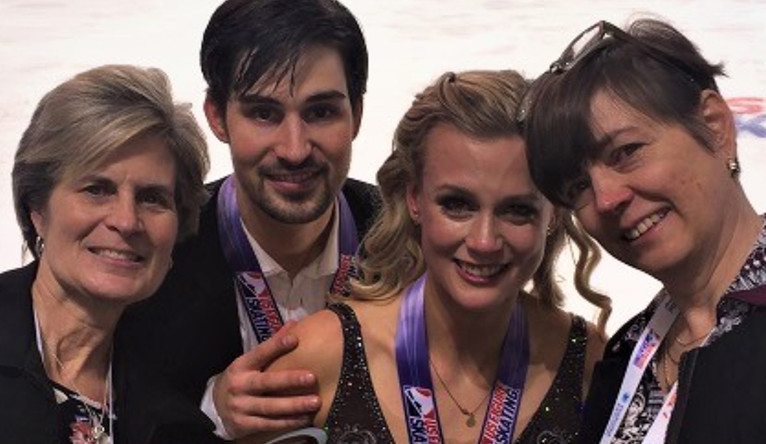 Dee Eggert, Zach Donohue, Madison Hubbell, and Sue Hubbell posing at the U.S. National Championship in Ice Dancing