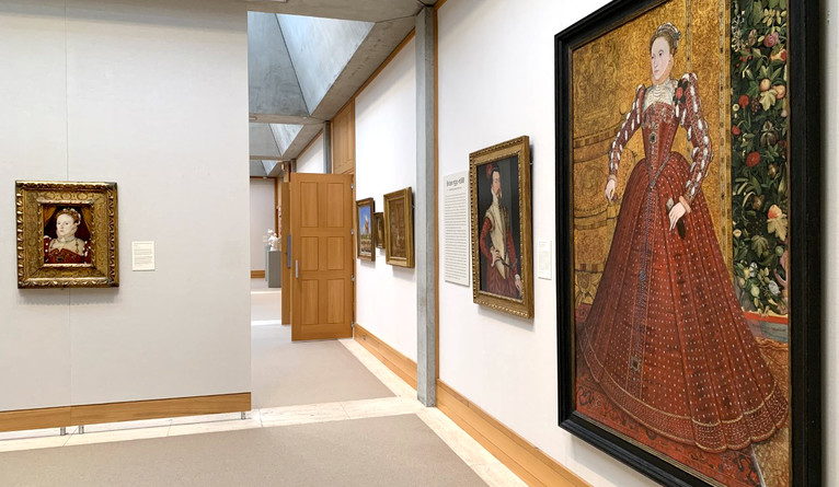 The two portraits of Elizabeth I share gallery space on the YCBA's fourth floor with other Tudor-era portraits.