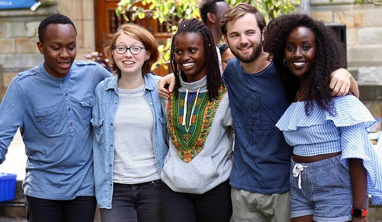 Faith Chumo with friends at Yale.
