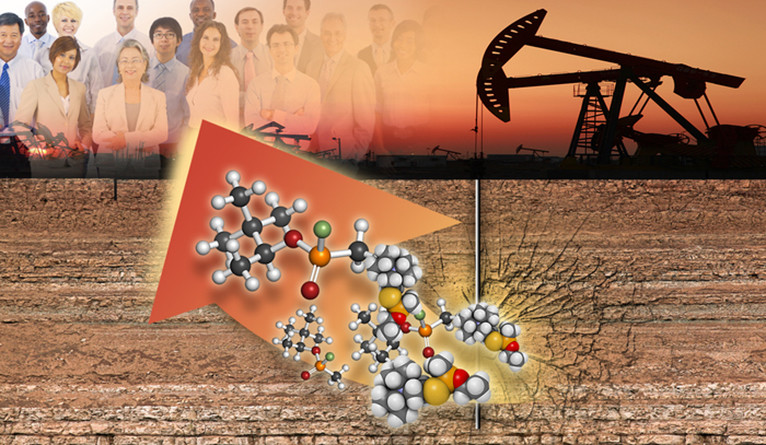 A collage showing fracking equipment, toxic chemicals, and a group of researchers.