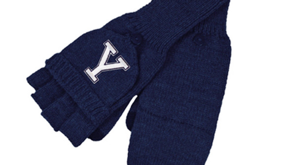 Blue gloves with Y embrodered on them