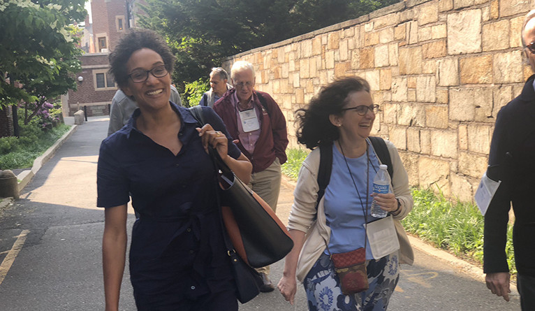Professor Emily Greenwood walks with some of the alumni scholars in Yale for Life.