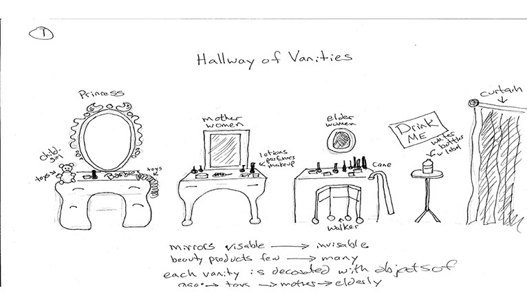 "A concept sketch of ""The Hallway of Vanities"""