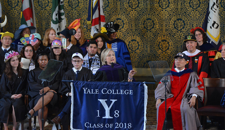 Hillary Clinton speaking at Woolsey Hall during Yale Class Day 2018.