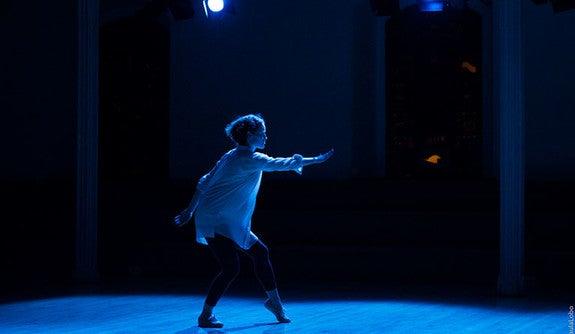 """Emily Coates in """"Incantations."""" (Photo by Paula Lobo.)"""