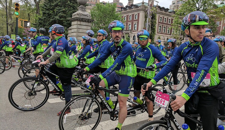 he InTandem team waits to join the TD Five Boro Bike Tour on May 6.